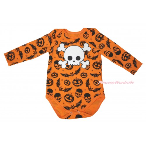 Halloween Pumpkin Bat Skeleton Baby Jumpsuit & White Skeleton Print TH630