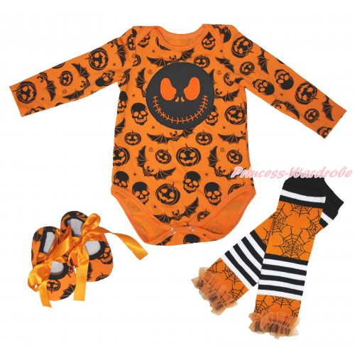 Halloween Pumpkin Bat Skeleton Baby Jumpsuit & Nightmare Before Christmas Jack Print & Shoes & Warmer TH632