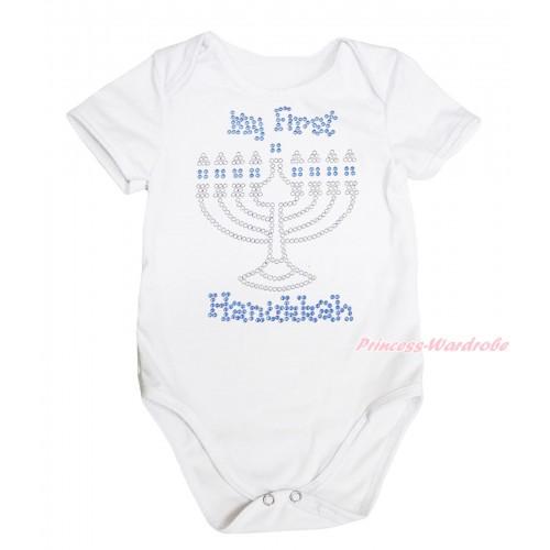 White Baby Jumpsuit & Sparkle Rhinestone My First Hanukkah Print TH633