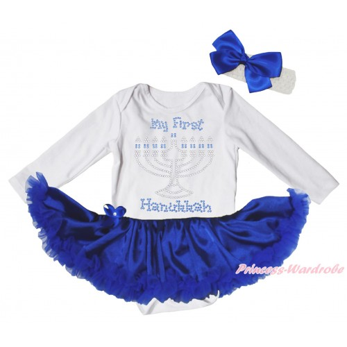White Long Sleeve Bodysuit Royal Blue Satin Pettiskirt & Sparkle Rhinestone My First Hanukkah Print JS4878