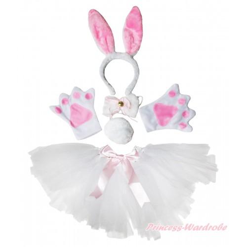 Easter Rabbit 4 Piece Set in Headband, Tie, Tail , Paw & White Ballet Tutu & Bow PC088