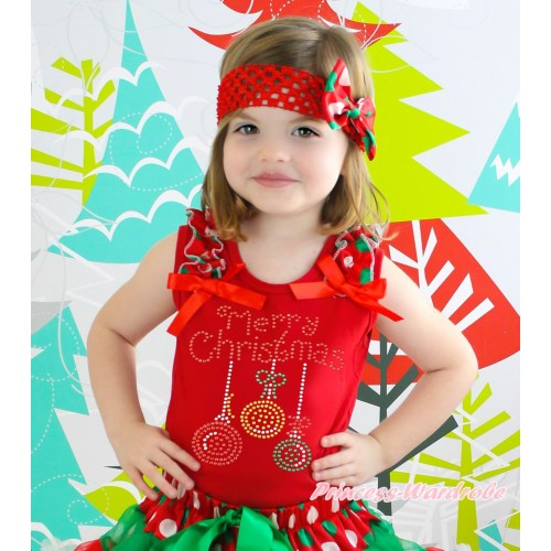 Christmas Red Tank Top Red White Green Dots Ruffles Red Bow & Sparkle Rhinestone Christmas Lights Print TB1375