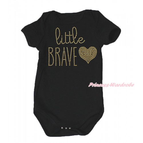 Black Baby Jumpsuit & Sparkle Rhinestone Little BRAVE Print TH638