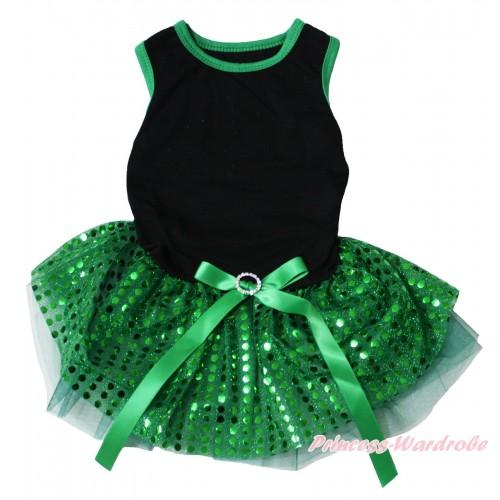 Black Sleeveless Kelly Green Bling Sequins Gauze Skirt & Rhinestone Bow Pet Dress DC221