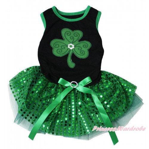 St Patrick's Day Black Sleeveless Kelly Green Bling Sequins Gauze Skirt & Clover Print & Rhinestone Bow Pet Dress DC304