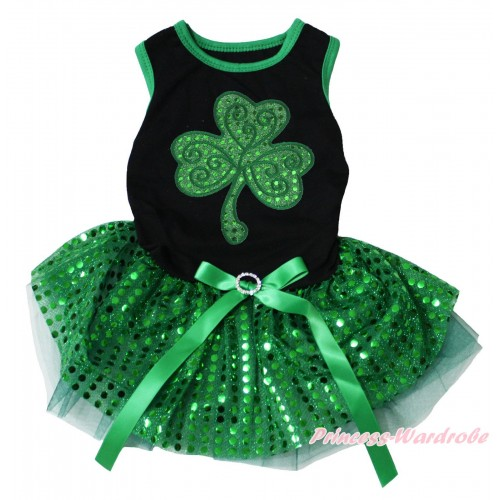 St Patrick's Day Black Sleeveless Kelly Green Bling Sequins Gauze Skirt & Sparkle Kelly Green Clover Print & Rhinestone Bow Pet Dress DC305