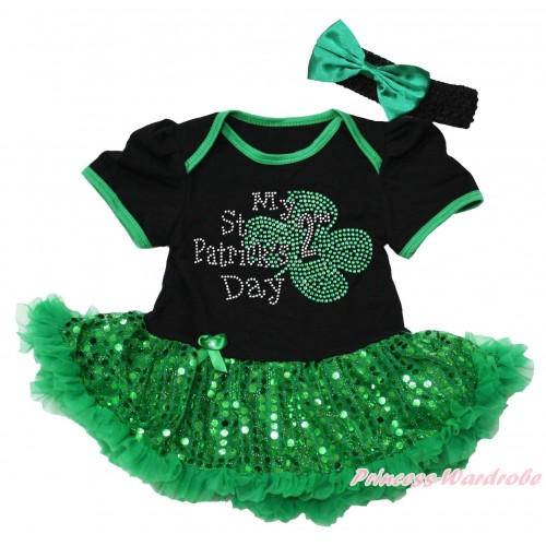 St Patrick's Day Black Baby Bodysuit Bling Kelly Green Sequins Pettiskirt & Sparkle Rhinestone My 2nd St Patrick's Day Print JS5316