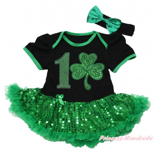St Patrick's Day Black Baby Bodysuit Bling Kelly Green Sequins Pettiskirt & 1st Sparkle Kelly Green Birthday Number Clover Print JS5317