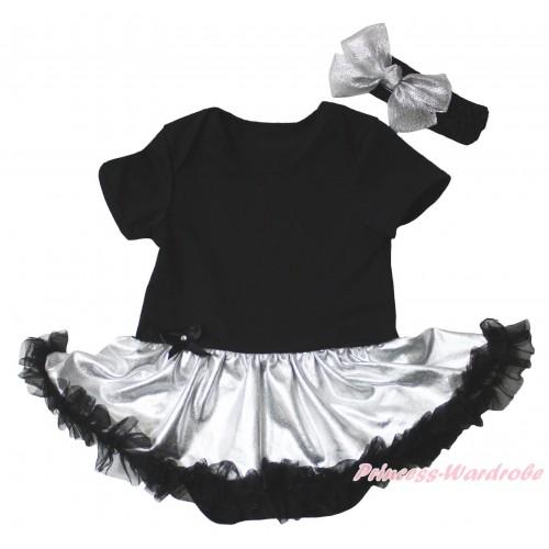 Black Baby Bodysuit Silver Black Pettiskirt JS5328