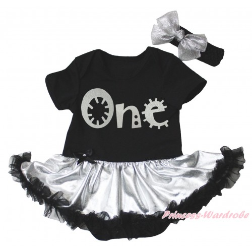 Black Baby Bodysuit Silver Black Pettiskirt & Sparkle Grey One Painting JS5329