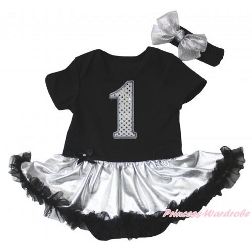 Black Baby Bodysuit Silver Black Pettiskirt & 1st Sparkle White Birthday Number Print JS5330