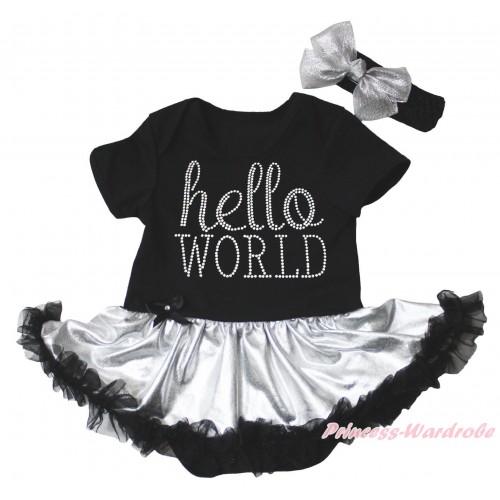 Black Baby Bodysuit Silver Black Pettiskirt & Sparkle Rhinestone Hello World Print JS5332