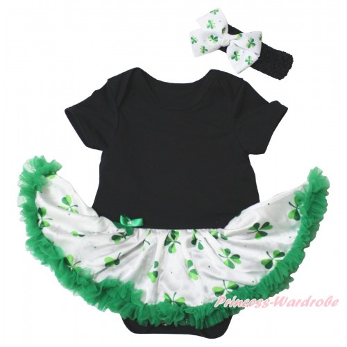 Black Baby Bodysuit White Kelly Green Clover Pettiskirt JS5339