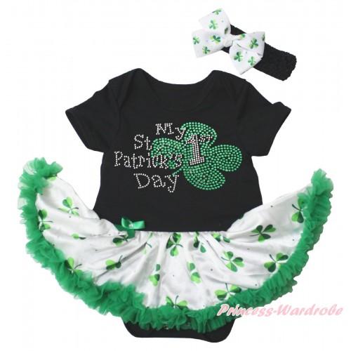 St Patrick's Day Black Baby Bodysuit White Kelly Green Clover Pettiskirt & Sparkle Rhinestone My 1st St Patrick's Day Print JS5340