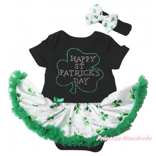 St Patrick's Day Black Baby Bodysuit White Kelly Green Clover Pettiskirt & Sparkle Rhinestone Clover Print JS5343