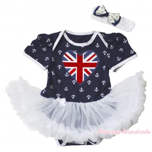 American's Birthday Dark Blue White Anchor Baby Bodysuit Jumpsuit White Pettiskirt & Patriotic British Heart Print JS5347