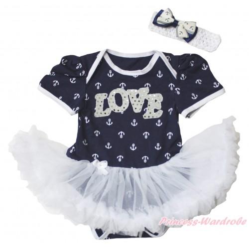 Dark Blue White Anchor Baby Bodysuit White Pettiskirt & Sparkle White LOVE Print JS5348