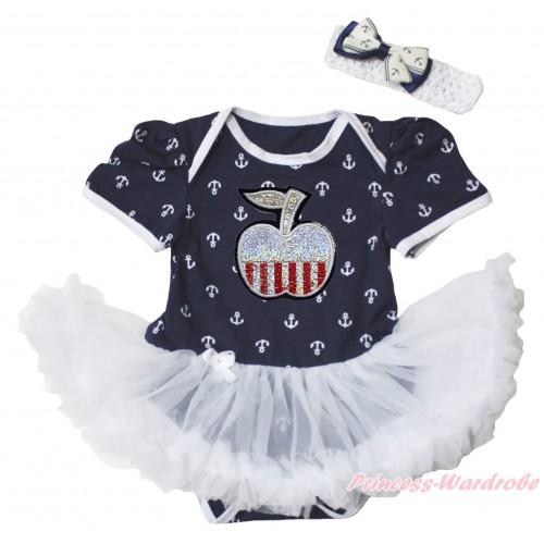American's Birthday Dark Blue White Anchor Baby Bodysuit Jumpsuit White Pettiskirt & Patriotic Apple Print JS5349