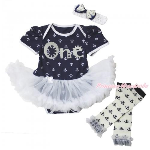 Dark Blue White Anchor Baby Bodysuit White Pettiskirt & Sparkle Grey One Painting & Warmers Leggings JS5351