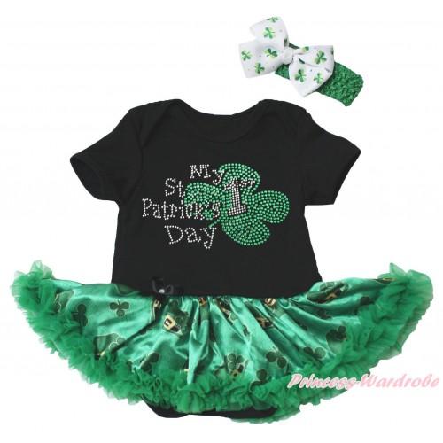 St Patrick's Day Black Baby Bodysuit Kelly Green Clover Pettiskirt & Sparkle Rhinestone My 1st St Patrick's Day Print JS5379