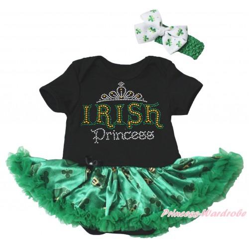 St Patrick's Day Black Baby Bodysuit Kelly Green Clover Pettiskirt & Sparkle Rhinestone IRISH Princess Print JS5381