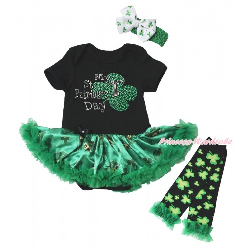 St Patrick's Day Black Baby Bodysuit Kelly Green Clover Pettiskirt & Sparkle Rhinestone My 1st St Patrick's Day Print & Warmers Leggings JS5383