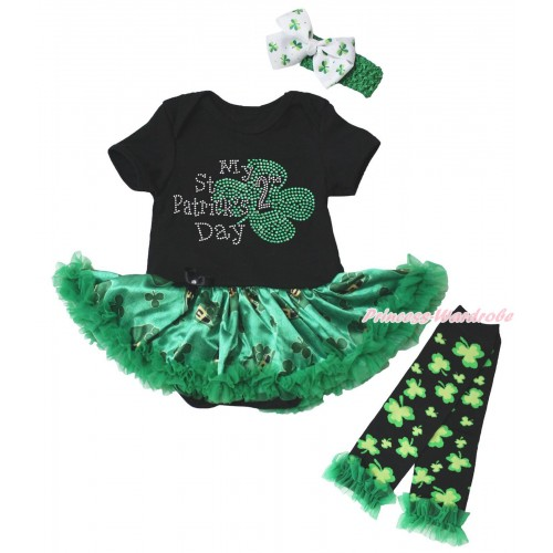 St Patrick's Day Black Baby Bodysuit Kelly Green Clover Pettiskirt & Sparkle Rhinestone My 2nd St Patrick's Day Print & Warmers Leggings JS5384