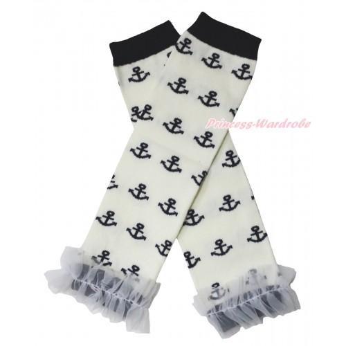 Newborn Baby White Black Anchor Leg Warmers Leggings & White Ruffles LG304