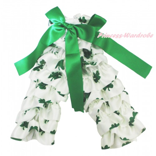 St Patrick's Day Baby White Kelly Green Clover Leg Warmers Leggings & Kelly Green Ribbon LG305