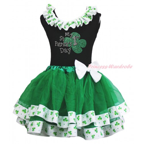 St Patrick's Day Black Tank Top Clover Satin Lacing & Sparkle Rhinestone My 1st St Patrick's Day Print & White Bow Kelly Green Clover Satin Trimmed Tutu Pettiskirt MG2214