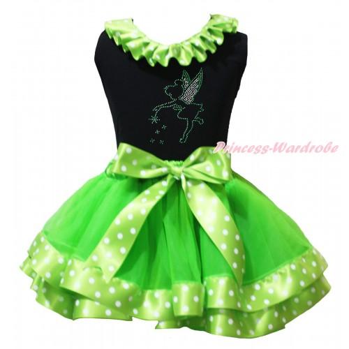 St Patrick's Day Black Pettitop Dark Green White Dots Lacing & Sparkle Rhinestone Tinker Bell Print & Dark Green White Dots Trimmed Pettiskirt MG2232