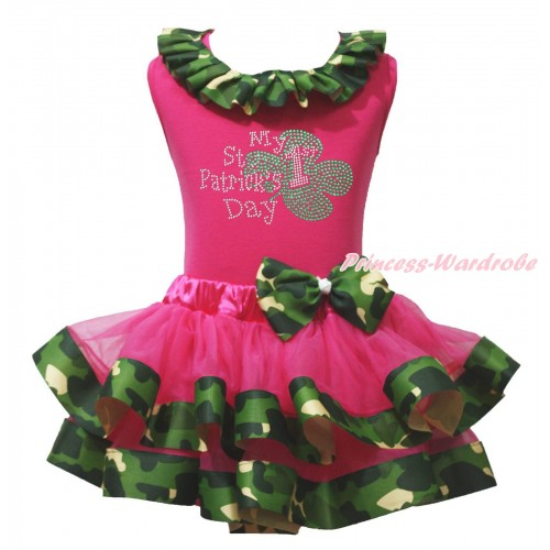St Patrick's Day Hot Pink Baby Tank Top Camouflage Lacing & Sparkle Rhinestone My 1st St Patrick's Day Print & Hot Pink Camouflage Trimmed Newborn Pettiskirt NG2095