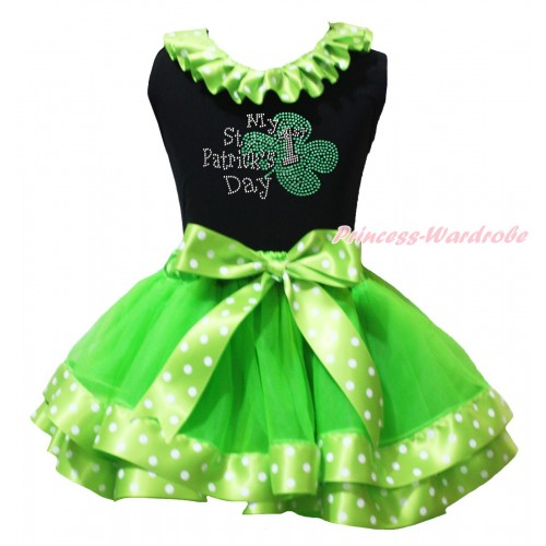 St Patrick's Day Black Baby Pettitop Dark Green White Dots Lacing & Sparkle Rhinestone My 1st St Patrick's Day Print & Dark Green White Dots Trimmed Newborn Pettiskirt NG2106