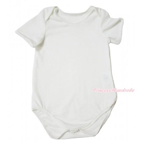 Plain Style Cream White Baby Jumpsuit TH679
