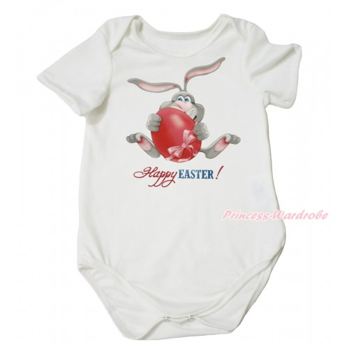 Easter Cream White Baby Jumpsuit & Grey Rabbit Painting TH680