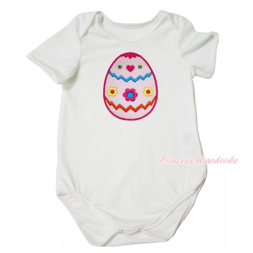 Easter Cream White Baby Jumpsuit & Easter Egg Print TH684