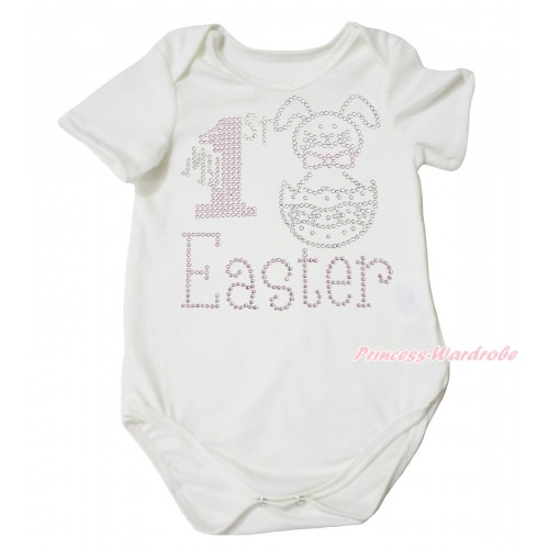 Easter Cream White Baby Jumpsuit & Sparkle Rhinestone My 1st Easter Print TH686