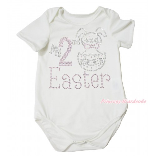 Easter Cream White Baby Jumpsuit & Sparkle Rhinestone My 2nd Easter Print TH687