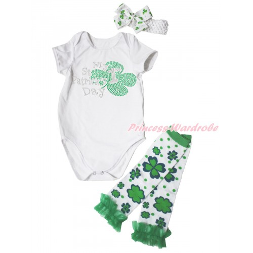 St Patrick's Day Cream White Baby Jumpsuit & Sparkle Rhinestone My 1st St Patrick's Day Print & Headband & Warmer Set TH690