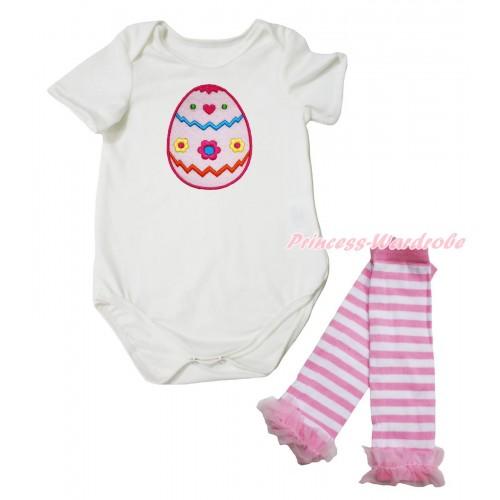 Easter Cream White Baby Jumpsuit & Easter Egg Print & Warmer Set TH692