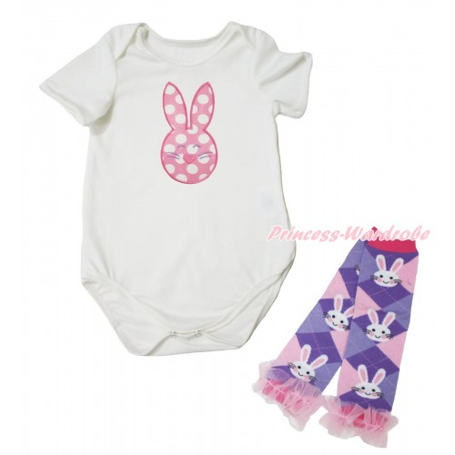 Easter Cream White Baby Jumpsuit & Pink White Dots Rabbit Print & Warmer Set TH693