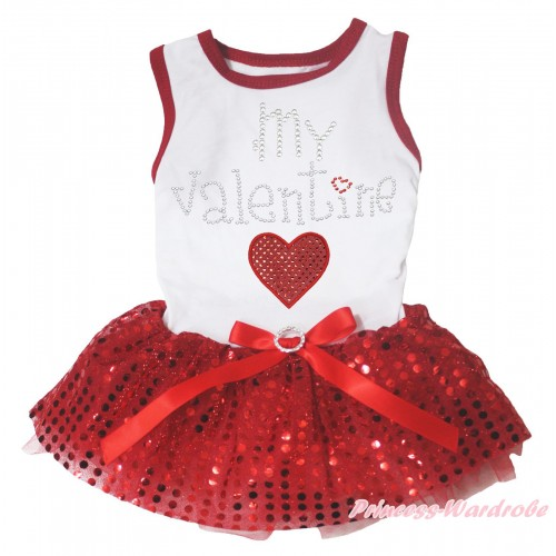 Valentine's Day White Red Piping Sleeveless Red Bling Sequins Gauze Skirt & Sparkle Rhinestone My Valentine Red Heart Print & Red Rhinestone Bow Pet Dress DC316