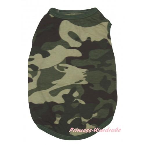 Plain Style Camouflage Sleeveless Pet Shirt Top DC347