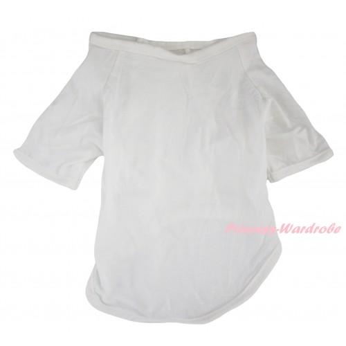 Plain Style White Short Sleeve Pet Shirt Top DC348