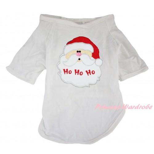 Christmas White Short Sleeve Pet Shirt Top & Santa Claus Print DC352