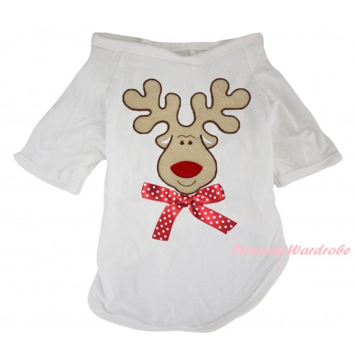 Christmas White Short Sleeve Pet Shirt Top & Christmas Reindeer Print & Minnie Dots Bow DC353