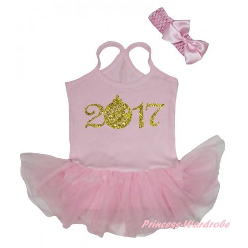 Light Pink Baby Halter Jumpsuit Sparkle Gold 2017 Painting & Light Pink Pettiskirt JS5895