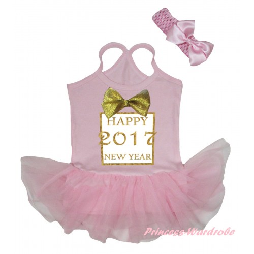 Light Pink Baby Halter Jumpsuit Sparkle Gold bow Happy 2017 New Year Painting & Light Pink Pettiskirt JS5896