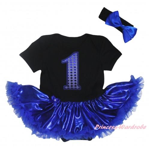 Black Baby Bodysuit Bling Royal Blue Pettiskirt & 1st Sparkle Birthday Number Print JS5919