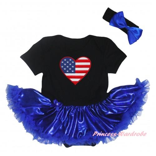 American's Birthday Black Baby Bodysuit Bling Royal Blue Pettiskirt & Patriotic American Heart Print JS5921